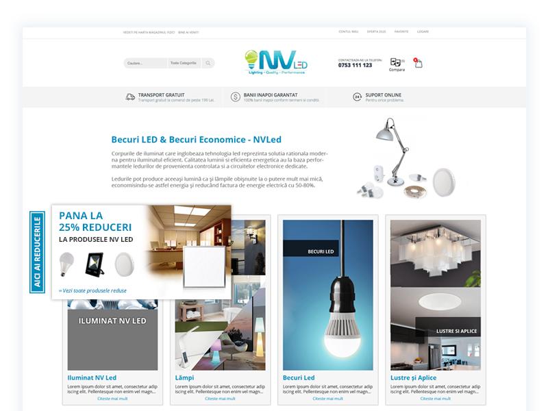 Led Shop Redesign web design blue leds bulbs clean design inspiration
