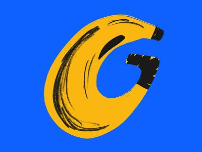 36 days of type // letter G fruit banana 36daysoftype shapes wacky characterdesign digitalillustration colourful design illustrator illustration