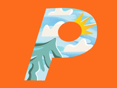 36 days of type // letter P trees clouds sunshine environment shapes gritty textures characterdesign digitalillustration colourful design illustrator illustration letterp 36daysoftype