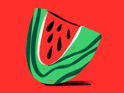 36 days of type // letter U gritty textures characterdesign digitalillustration colourful design illustrator illustration fruit watermelon letteru 36daysoftype