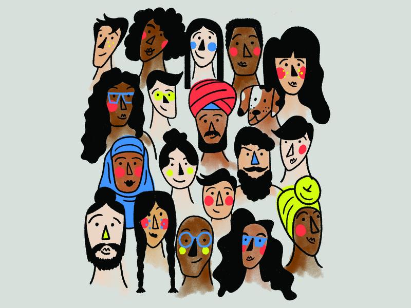 Diversity in illustration inclusivedesign diversity characterdesign digitalillustration textures colourful illustrator photoshop brush photoshop kyle webster illustration design