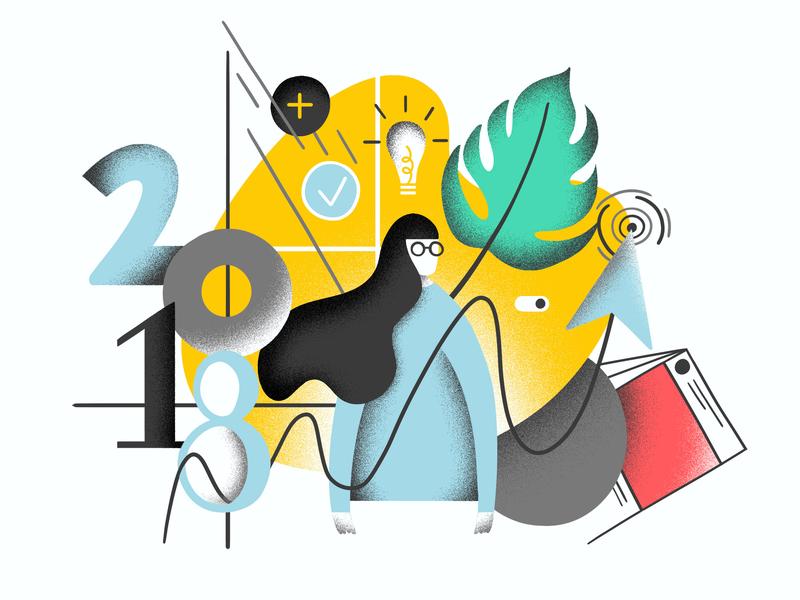 Kobot blog post — Trends of 2018 editorial gritty characterdesign digitalillustration textures colourful illustrator photoshop brush photoshop kyle webster illustration design