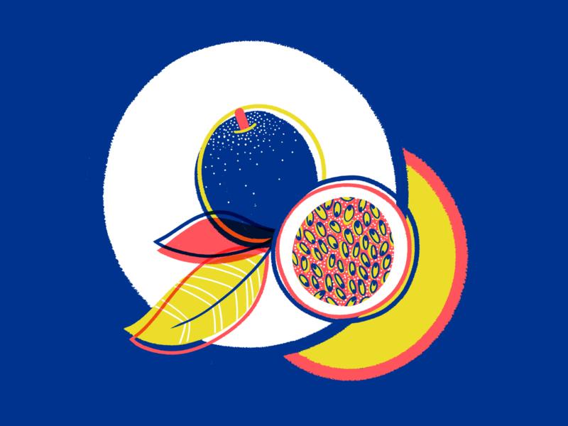 Little passionfruity fruit gritty digitalillustration textures colourful illustrator photoshop brush photoshop kyle webster illustration design