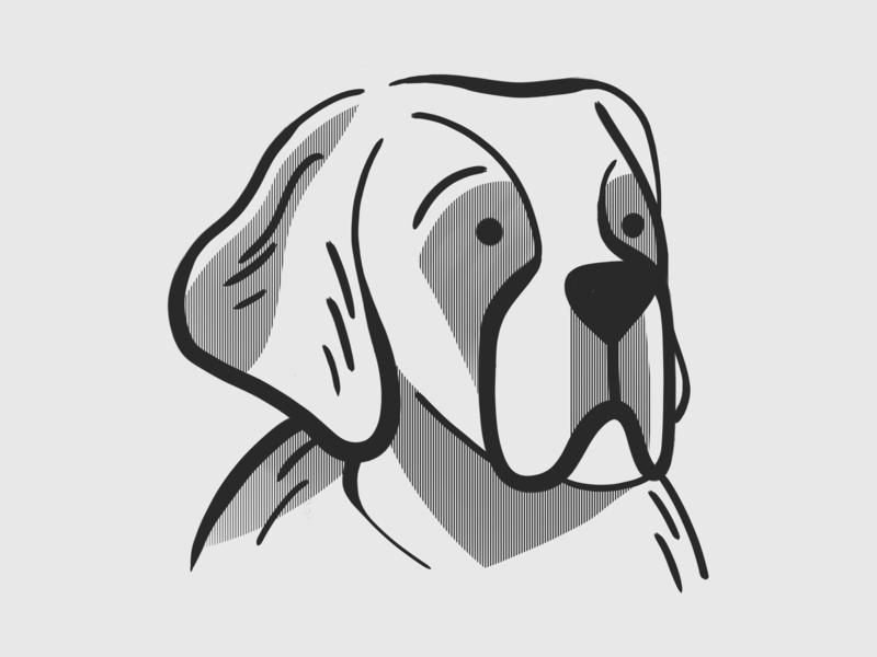 Moody St. Bernard portrait dogs digitalillustration illustrator photoshop brush photoshop kyle webster illustration design