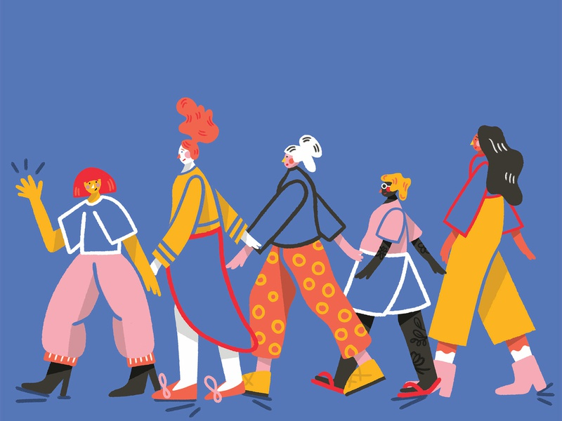 Lady friends shapes editorial wacky patterns gritty characterdesign textures digitalillustration colourful illustrator photoshop brush photoshop kyle webster illustration design