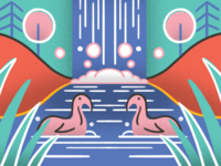 Detail — little weird duck/swan guys