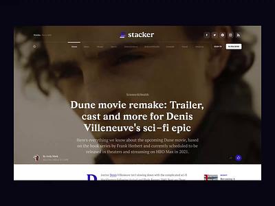 Stacker product landing cinema film video graphic design motion graphics branding animation font ui logo web news interface