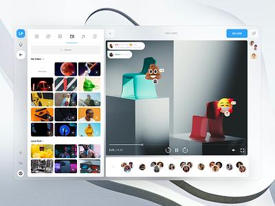 Luna Park group video call social call graphic design 3d interface dashboard