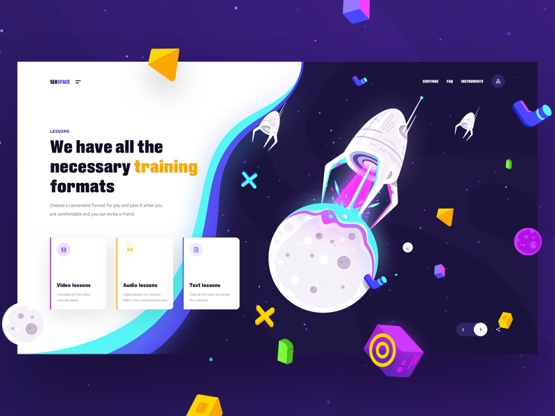 Seospace Training illustration typography cosmos space homepage interface geexarts