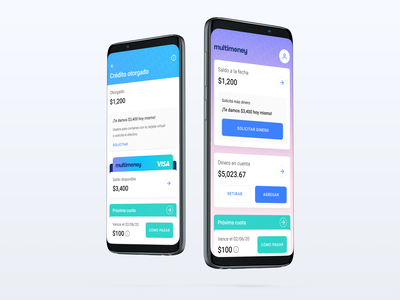 Multimoney — Android app design system library component cards gradient fintech app fintech android app ux ui design