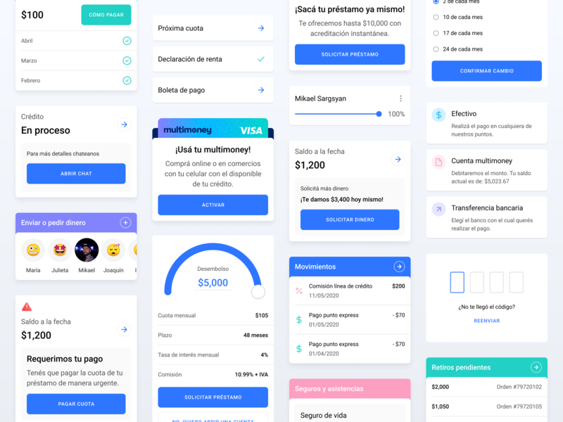 Multimoney — Components design system library component cards gradient fintechapp fintech android app ux ui design