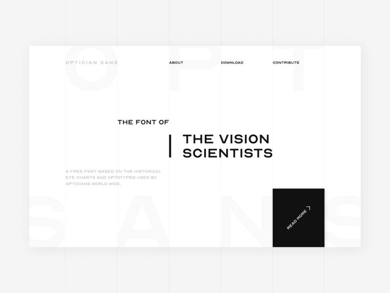 Optician Sans - Landing Page concept website web vector homepage branding web development ui product design web design typography