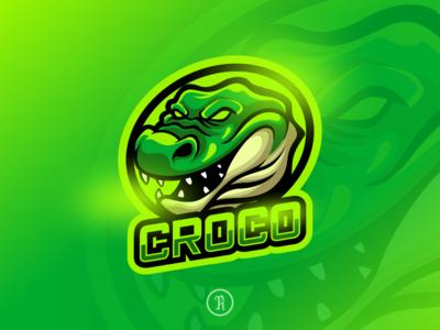 Croco alligator mascot sport logo csgo fortnite vector cartoon head mascot character art branding team illustration design logo gaming game esport sport mascot green alligator crocodile