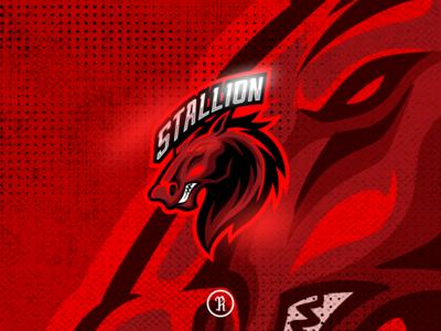 Stallion red horse mascot esport logo illustration character cartoon cod csgo fortnite vector branding team design art gaming game logo illustration sport esport mascot horse red stallion