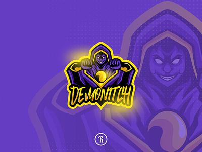 Demonitch witch mascot logo dota2 twitch csgo fortnite cartoon character brand team illustration vector design art gaming game esport sport logo mascot wizard witch