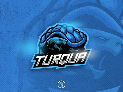 Turqua turtle mascot sport logo typography lol dota2 fortnite csgo branding design vector art illustration team gaming game esport sport logo water aqua mascot turtle