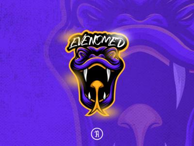 Evenomed snake mascot logo typography character cartoon illustration design team branding brand vector stream streaming streamer gaming game esport sport logo mascot snake venom