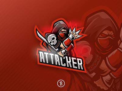 Attacker ninja mascot esport logo dota2 csgo brand template character cartoon branding art illustration team vector design gaming game logo sport esport mascot ninja red