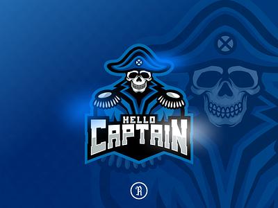 hello captain skull pirate mascot logo fortnite dota2 csgo cartoon character team gaming game template illustration vector blue art design sport esport logo mascot pirate skull