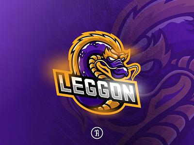 Leggon dragon mascot esport logo branding brand cart design illustration vector logo sport cartoons character streamer stream twitch gaming game esports esport mascot purple dragon