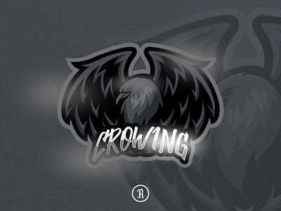 crowing raven crow mascot  esport logo team black typography stream cartoon character branding brand team illustration gaming game esport sport vector design art logo mascot raven crow