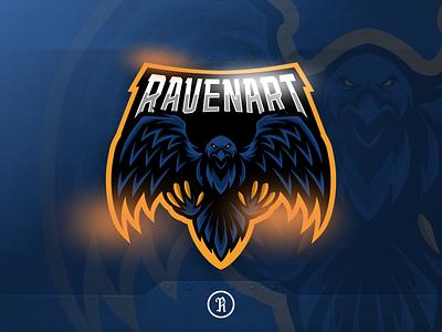 Ravenart mascot esport logo twitch cartoon character csgo fortnite branding team vector illustration esport sport gaming game logo mascot design art crow raven