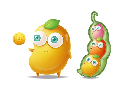 Beans peas smile happiness happy eyes yellow green character cartoon chibi gold