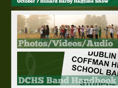 Website design for Dublin Coffman Marching Band web design website refresh