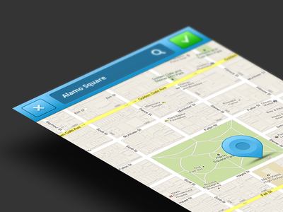 Change location ux ui ios mobile app map pin location change blue trending perspective