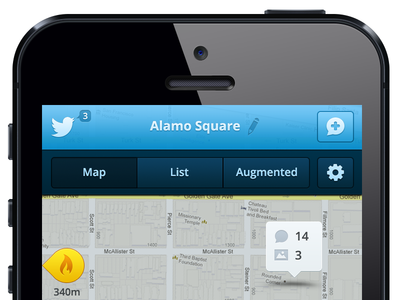Twitter Nest concept - Map twitter tweet nest iphone ios mobile app ui ux map blue white