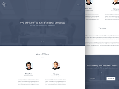 958labs - a company that never was (yet) labs ux ui landing teaser web design desktop clean minimal white blue