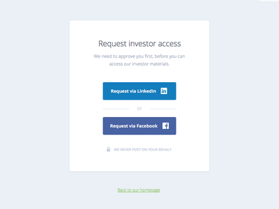 Investor access landing page ux ui request access signup login button clean minimal simple facebook linkedin