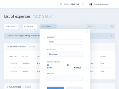 Gingr - list of expenses ux ui visual clean minimal dashboard finance payments internet banking money