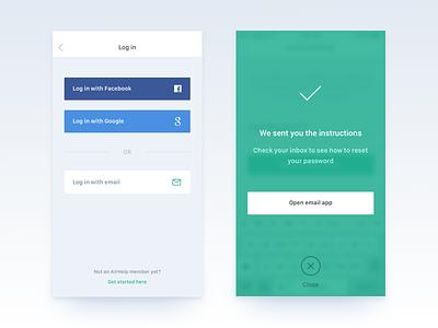 Pre-signup app account signup reset password login minimal clean app ios mobile ui ux
