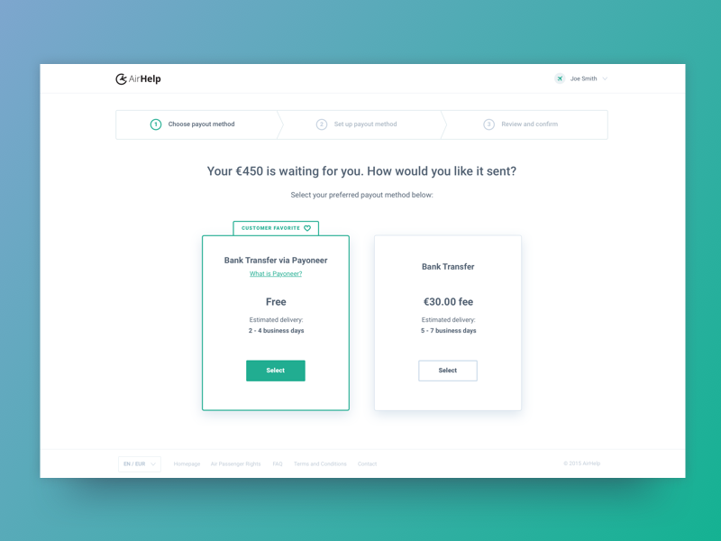 Payout - step 1 steps choice minimal clean bar progress payout payment product ui ux