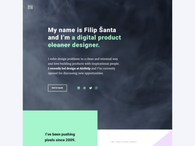 New filipsanta.com sneak peak showcase purple green black minimal clean portfolio ui ux