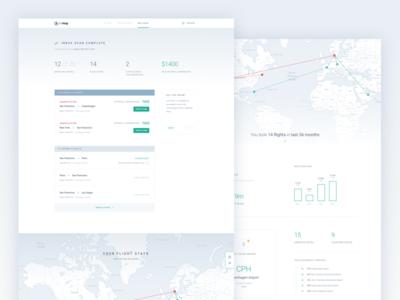 Inbox Scanner dashboard stats map compensation disruption delay flights minimal clean product ui ux