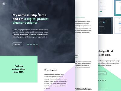 Portfolio - FilipSanta.com showcase purple green black minimal clean portfolio ui ux