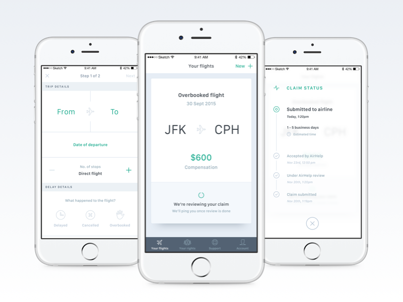 AirHelp app 2.0 green white status form refund compensation flight ui ux mobile app airhelp