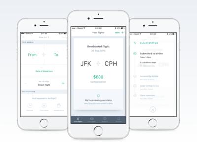 AirHelp app 2.0 green white status form refund compensation flight ui ux mobile app airhelp