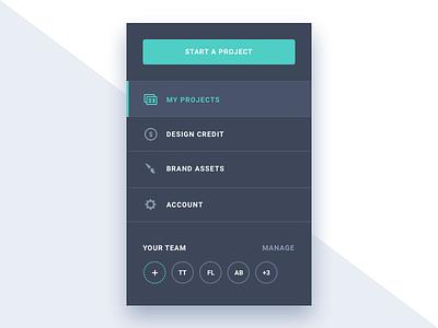 App sidebar menu projects managment grey design clean sidebar menu app ui ux