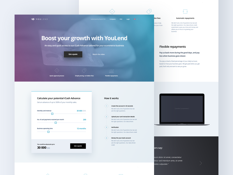 YouLend - landing page minimal growth bank finance loan fintech marketing page landing ui ux