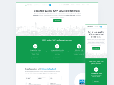Fast409A - landing page homepage ux ui website san francisco illustration valuation bay area clean marketing minimal homepage landing page