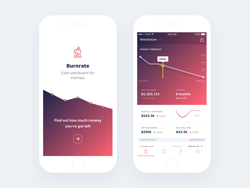 Burnrate iOS concept red white interface experience burnrate product fintech mobile app ios ui ux