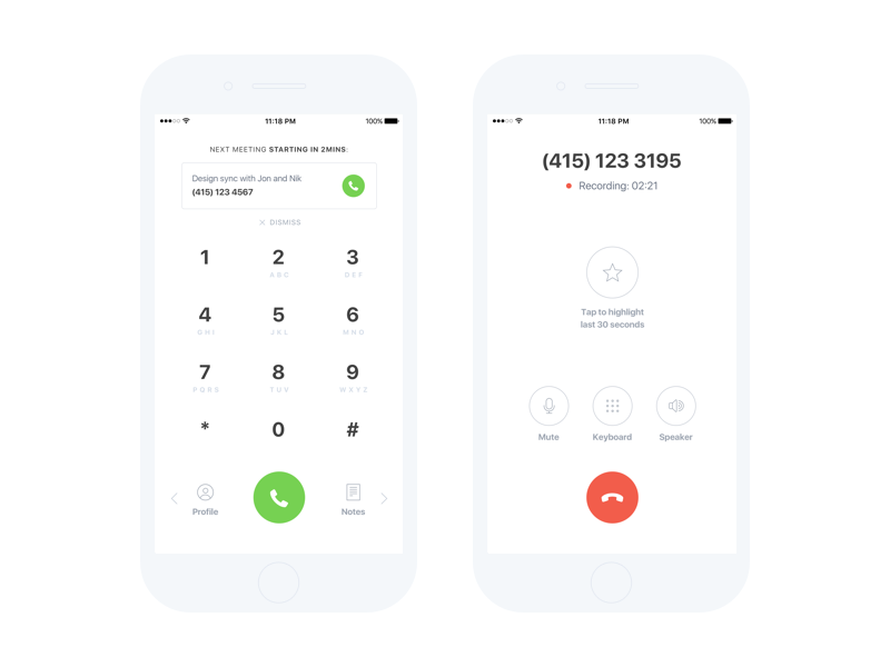 Tetra dial and on-call white notes hint dial call minimalism clean product ui ux