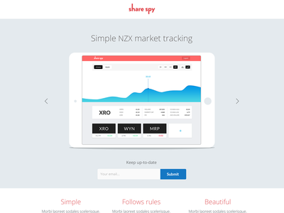 Share Spy landing WIP update share tracking web app minimal stocks landing data graph