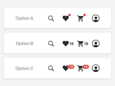 eCommerce nav indicator options ui navigation nav ecommerce feedback