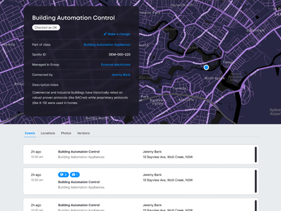 Concept for Connected Thing asset page maps iot software ui