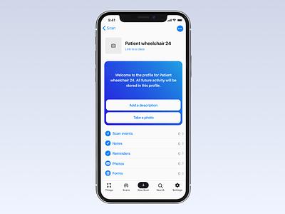 Concept for NFC/RFID smart tag app ios nfc smart tag app ui