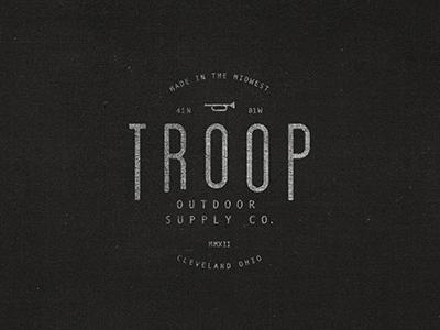 Troop 1 typography design branding logo